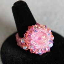 These rings are great for any occasion. They are made with Swarovski rivoli's and bicones. They are also made with 3-4mm fire polished beads. They come in three colors Ultra Pink, Turquoise, and Emerald.