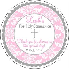 Pink Damask Silver Cross First Holy Communion by PaisleyChickInks