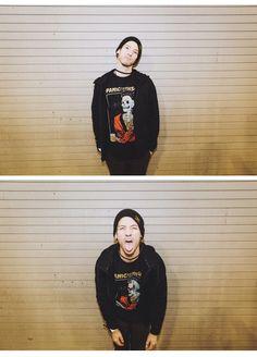 Josh wearing a Panic! shirt. My life is complete.