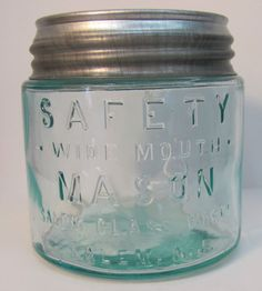 Vintage Aqua Blue SAFETY Wide Mouth PINT Mason Jar w/ NOS BALL Zinc Lid SALEM NJ