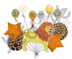11 pc Lion Balloon Bouquet Party Happy Birthday Animal Safari Zoo Stripe Jungle