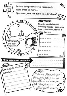 É muito importante que a criança tenha momentos diários com Deus, para que ela entenda que o Senhor Tem que fazer parte da sua vida em todos... Portuguese Language, Notebook, Bullet Journal, Scrapbook, Creative, Kids Bible Activities, Activities For Toddlers, Teaching Activities, Kids Study