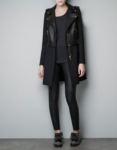 LEATHER BIKER COAT - Jackets - Woman - New collection - ZARA