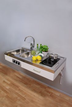 Disabled Access kitchen metre wide with ceramic hob (model ref: Micro Kitchen, Compact Kitchen, Kitchen Sets, New Kitchen, Kitchen Decor, Studio Kitchen, Farmhouse Kitchen Cabinets, Kitchen Cabinet Design, Kitchen Layout
