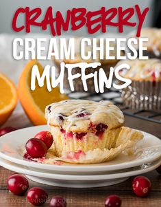 These Cranberry Cream Cheese Muffins are enhanced with fresh orange zest and tart cranberries in a moist and delicious muffin base. My family LOVES these little muffins! Cranberry Orange Muffins, Cranberry Cheese, Fresh Cranberry Recipes, Muffin Recipes, Breakfast Recipes, Breakfast Muffins, Breakfast Casserole, Bread Recipes, Little Muffins