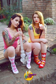 Cute tattooed girls and bong... great combo