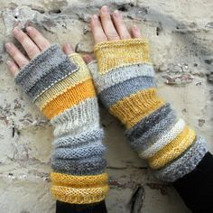 Knitting Patterns Grey Buttercup Striped Hand Knit Fingerless Gloves with upcycled yarn and kid mo. Fingerless Gloves Knitted, Crochet Gloves, Knit Mittens, Knitted Blankets, Chunky Knitting Patterns, Hand Knitting, Crochet Patterns, Wrist Warmers, Hand Warmers