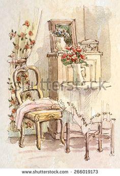 picture interior, water color, sketch