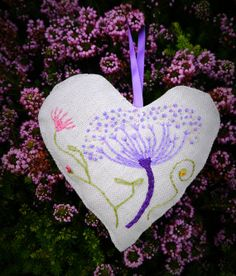 Hanging Heart Decoration Embroidered Flower Design