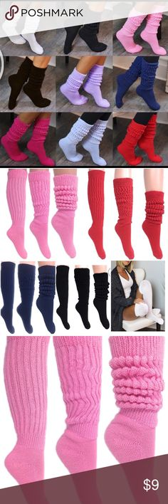 Heavy slouch socks Wear them in your ankles or pull them up high ... perfect for any occasion , around house , gym , with boots ..etc Price per each . Colors - red , black , white , blue , pink Other Slouch Socks, Sexy Socks, Leg Warmers, Fashion Tips, Fashion Design, Fashion Trends, Red Black, Gym, Colors