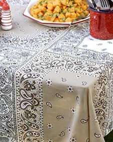 Bandana Table cloth - It's easy and inexpensive to  make, requiring only bandannas and a few basic sewing supplies.