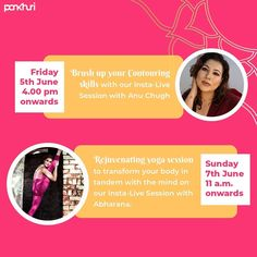 We are going live this Friday with @anuchugh003 to brush up our makeup and contouring skills followed by a rejuvenating Yoga session  by @abharana_kakal on Sunday.  Keep your contour kit, yoga mat and towels handy!  #askpankhuri #pankhuribride #makeup #livesession #livetutorial #makeuptutorial #conturingsession #masterclass #yoga #rejuvenating #peace #yogapractice #makeuptutorials #conturing #contiringtutorial #yogatutorial #yogaformind #yogaforbody #live #instalive #instalivestream Insta Live, Contour Kit, Yoga Session, Contouring, Tandem, Master Class, Towels, Sunday, Mindfulness