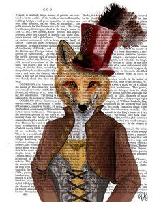 Steampunk Fox Vixen Vivienne Fox Print steampunk print fox painting fox illustration dictionary print wall hanging wall art wall decor
