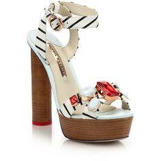 Sophia Webster Amanda Gem Nautical Stripe Platform Sandals (2.400 BRL) ❤ liked on Polyvore featuring shoes, sandals, apparel & accessories, multi, ankle strap shoes, platform shoes, embellished sandals, ankle tie sandals and jewel sandals