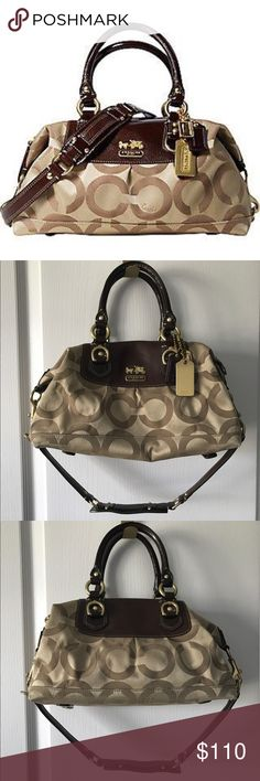 """Coach • Madison Gold Signature Satchel Only owner, carried a few times. Does have some wear as show.  Great used condition! Approximate dimension : 12 (L) x 6 (H) x 4 1/2 (W)  Satchel/shoulder bag style. Inside pockets- Cellphone/multifunction pockets  Ring to clip an accessory or keyfob  Zip-top closure  Op-Art Sateen print fabric with lightweight leather -Detachable shoulder strap -22"""" convertible/detachable shoulder strap with 12"""" drop. Comes with a dust bag (not coach brand) Coach Bags…"""