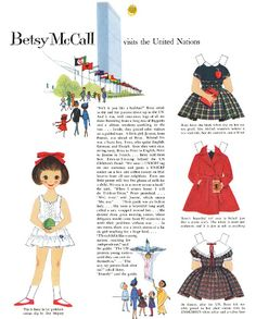 Free Vintage Printable Betsy McCall Visits the United Nations Paper Doll
