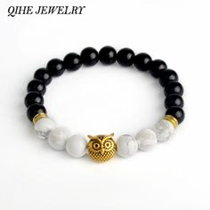 QIHE JEWELRY Turquoise Tiger Eye Lava Stone Owl Charm Natural Stone Beaded Bracelet Stretch Cord Healing Bracelet For Men - free shipping worldwide