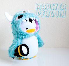 handmade Monster Penguin soft sculpture softie plush doll