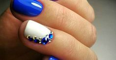 that's the prettiest blue | Εργασίες που θέλω να κάνω | Pinterest | Beautiful, Manicures and Blue and white nails