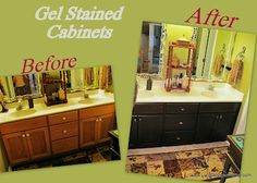 Add this to project list. Use general finished antique walnut gel stain in guest and master bathroom. Yay!