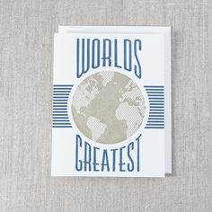 Worlds Greatest - Letterpress Greeting Card, By Pike Street Press - Seattle