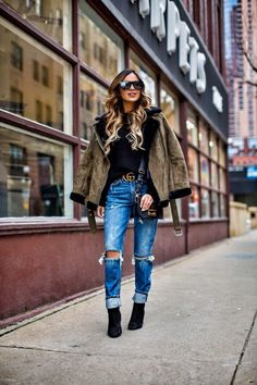 New Year, New You - Topshop Shearling Jacket // Nordstrom Black Turtleneck // GRLFRND Jeans // Gucci Double G Buckle Belt // Saint Laurent Sunglasses // Furla Crossbody Bag // Similar Suede Booties January 4th, 2017 by maria