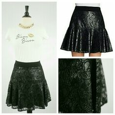 """🎉HPCatherine Malandrino Taylor Skirt Fun and flirty!!! Beautiful unique metallic black underlay with sheer lace overlay. Pleated A-Line skirt with drop waist. Thick knit waist band. Approximately 18.5""""L from waist to hem. Viscose/polyamide; polyester/rayon/spandex combo. **MORE PICS TO COME*** Catherine Malandrino Skirts"""