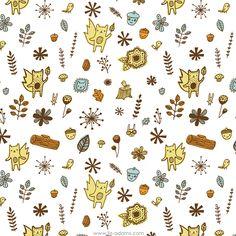 Woodsy Friends fabric design by Liz Adams, via Behance
