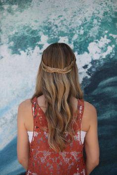 Fishtail crown braid, huntington beach braid bar, meleesa the salon braid, braids, hairstyles updo, wedding hair,  bridesmaid hair, cute hair styles, french braid, curls, headband braid, half up style,