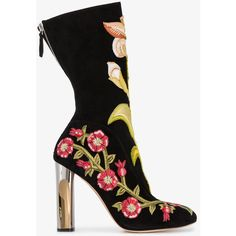 Alexander Mcqueen Floral Embroidered Boots (59.845 CZK) ❤ liked on Polyvore featuring shoes, boots, calf length boots, round toe boots, leather block heel boots, mid calf boots and block-heel shoes