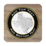 Faux Rustic Wood Background with Texas Map Coaster #Texas