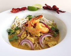 Thai Flavors, Chicken and Shrimp make up this khoi soi soup
