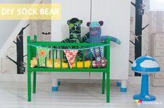 DIY Sock Bear... (love the green crib too)