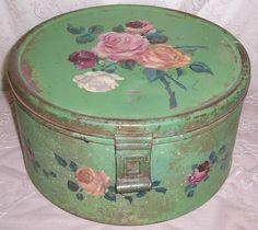 Handbeschilderde cake trommel, antiek
