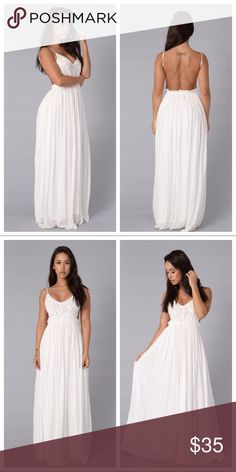 Pretty White Dress ✨💕 * •Maxi Length * •Crochet Top * •Open Back * •Frayed Hem * •Lined * •Self: 100% Rayon * •Lining: 100% Polyester * •Contrast: 100% Cotton * •BRAND NEW ✨ Dresses Maxi