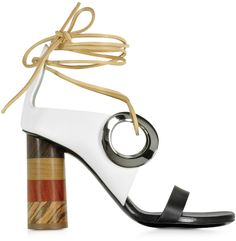 Proenza Schouler Black and White Leather Open Toe Sandal w/Chunky Wooden Heel