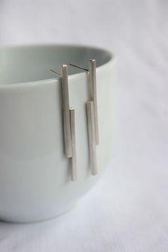 """Stick earrings made of Sterling silver, geometric earrings, studs or dangle earrings, """"Short Mikado Earrings"""""""