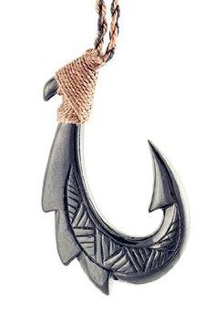 Amazon.com: Hawaiian Maori Style Black Bone Fish Hook Necklace (Special Two Tone Cord Edition): Jewelry