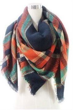 Warm Blanket oversized scarf shawl in a tartan plaid Navy Brown and Orange design. Fast shipping!:)