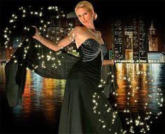 Animazione Ragazza in abito da sera nero su uno sfondo di città e del fiume, SIFCO ragazza in abito da sera nero su uno sfondo di città e il fiume