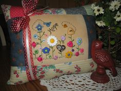 HOPE, beautifully stitched pillows