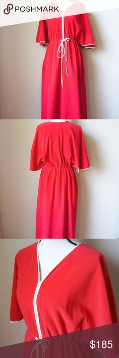 """Vintage Vanity Fair Red Zip Up Robe Vintage Vanity Fair Red Zip Up Elastic Waist Robe. Size: L •armpits: 22"""" •length: 55"""" Material: 100% Polyester Machine wash: machine wash / tumble dry Condition: no rips no stains -VV- Vintage Intimates & Sleepwear Robes"""