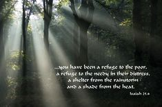 Isaiah Poster -You have been a refuge to the poor, a refuge to the needy in their distress, a shelter from the rainstorm and a shade from the heat. Book Of Isaiah, Prophet Isaiah, Help The Poor, Christian Quotes, Bible Verses, Mystery, Prayers, Shades
