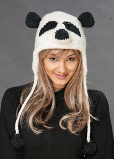 Panda Bear Wool Knit Pilot/Aviator Animal Cap/Hat with Ear Flaps and Poms