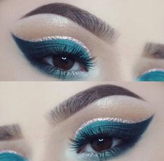 WEBSTA @ superduperdaisy - I didn't know what I was doing when I started my eye makeup earlier but this was the outcome ✨.deets: dark brown pomade chocolate bar take me to brazil liquid metal eyeliner vegas nay grand glamor lashes Teal Makeup, Love Makeup, Makeup Inspo, Makeup Art, Makeup Inspiration, Beauty Makeup, Makeup Ideas, Makeup Stuff, Glitter Makeup