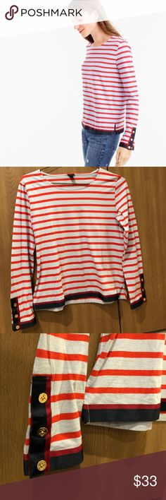 J. Crew Grosgrain Ribbon Striped T-Shirt Nautical buttons. Ribbon trim.  In perfect condition!! 100% cotton J. Crew Tops Tees - Long Sleeve