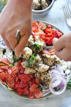 Grilled Chicken Chopped Antipasto Salad - Best chicken marinade! | Lexi's Clean Kitchen