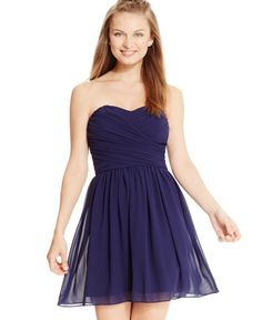 Bcx Juniors' Ruched Sweetheart Dress