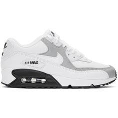 36b1e62fa9f152 Nike White and Grey Air Max 90 Sneakers ( 115) ❤ liked on Polyvore featuring