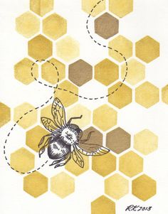 Original Honeybee II Illustration - Matted
